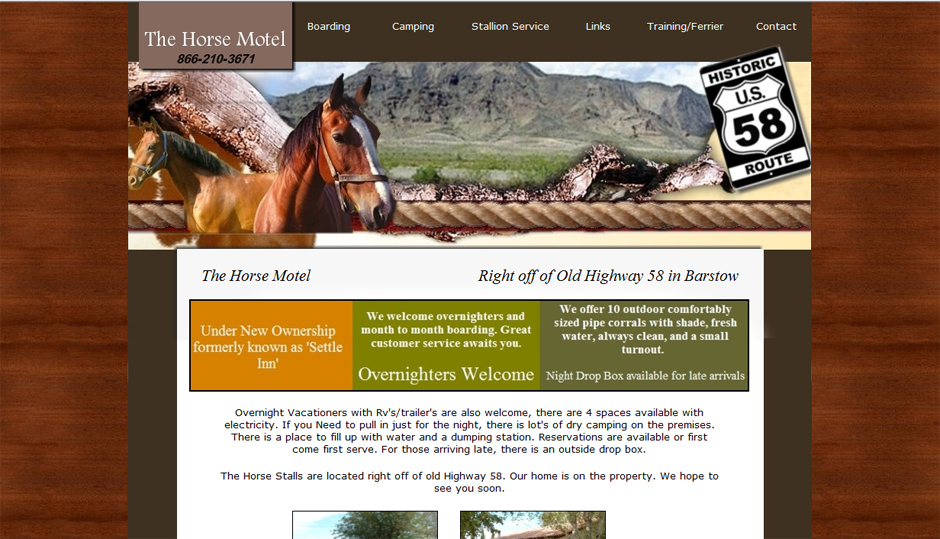 The Horse Hotel in Barstow California Web Design by Web Candy websites custom sites