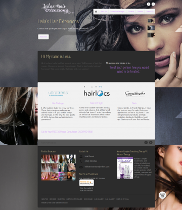 Leila Hair Extensions Web Design by Web Candy
