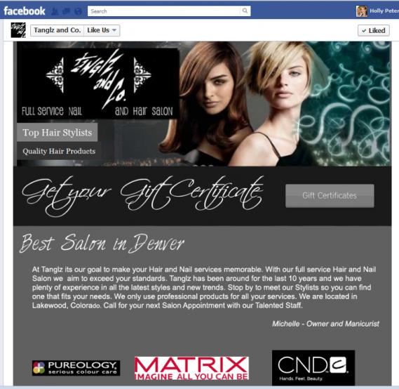 Tanglz Like Us Tab Facebook Custom graphics
