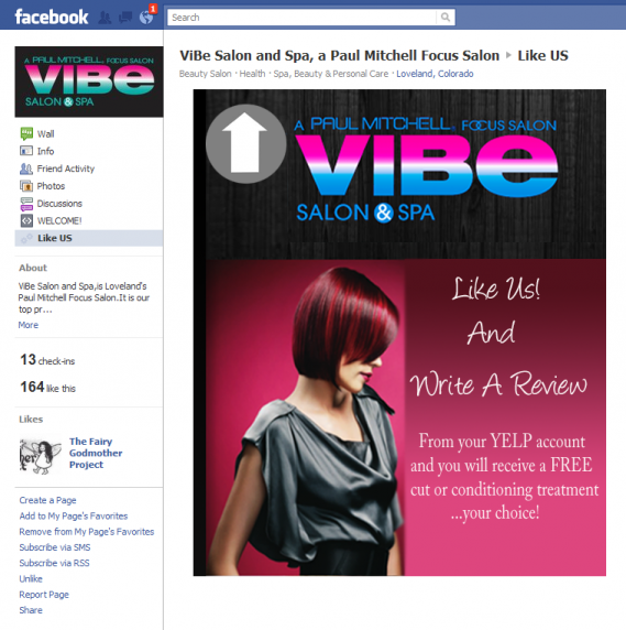 Facebook Page Vibe Salon and Spa