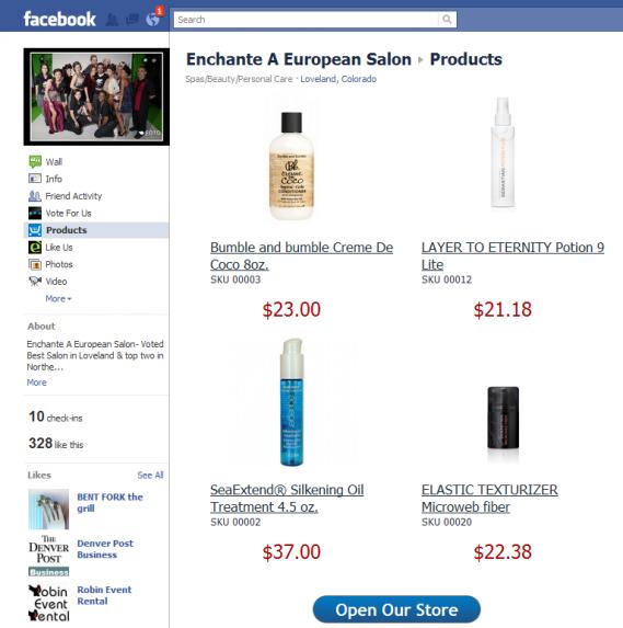 Enchante facebook Store