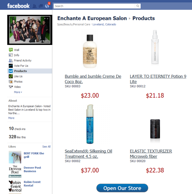 Enchante facebook Store
