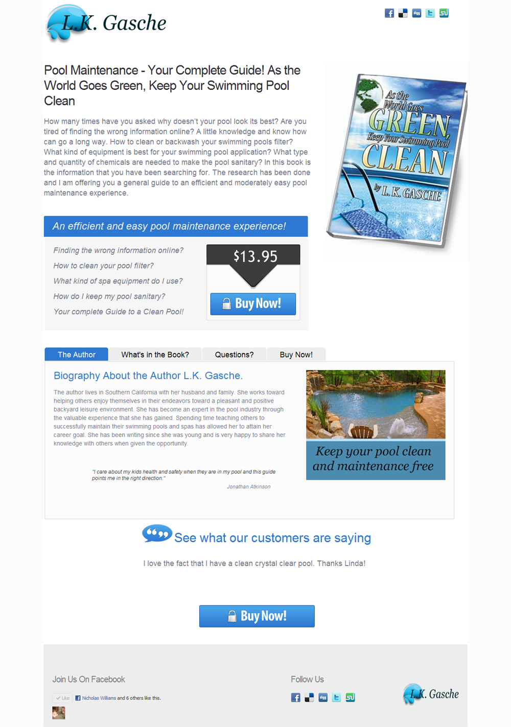 Pool Guide Maintenance website Pool Swimming care guide Linda Gasche