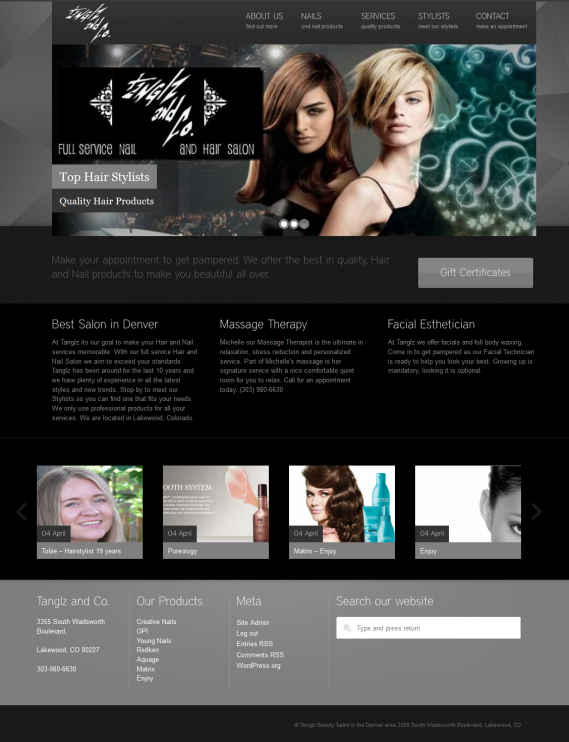 Tanglz and Co Beauty Salon Lakewood Colorado, by Web Candy Web Design