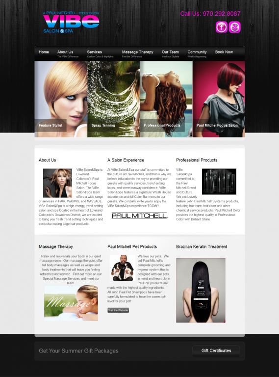 Web Candy Specializes in Salon websites