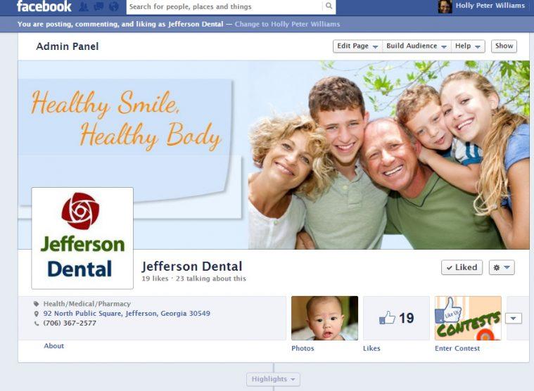 Jefferson Dental jeffersonsmiles.com Facebook fan pages custom aweber optin forms