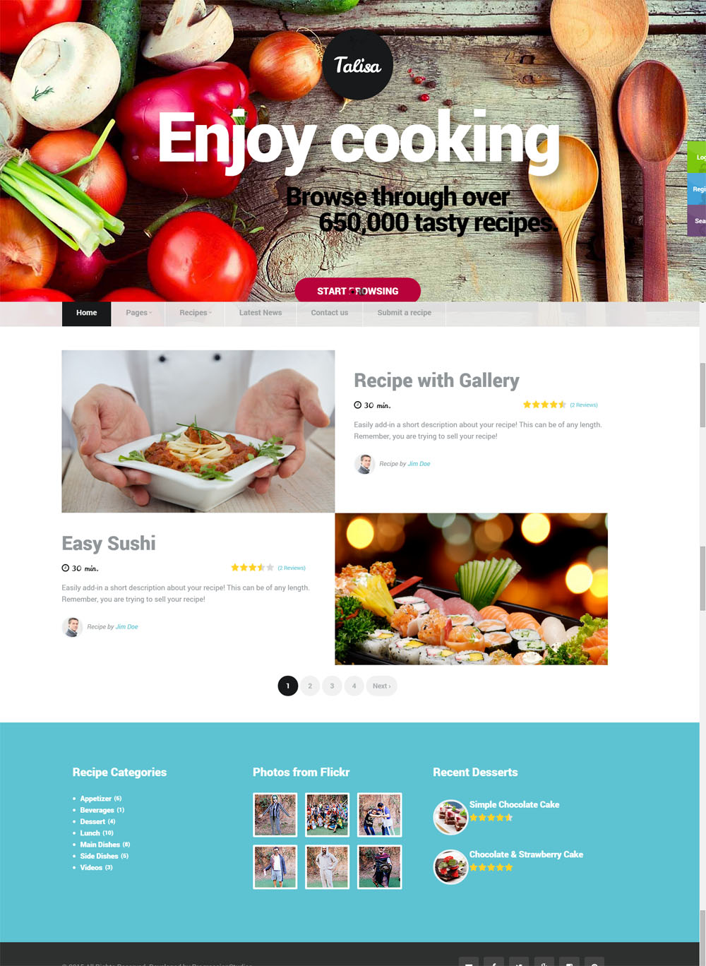 Talisa food recipes wordpress theme web candy website design when purchasing this theme you will receive a detailed help file along with additional features like recipe forumfinder