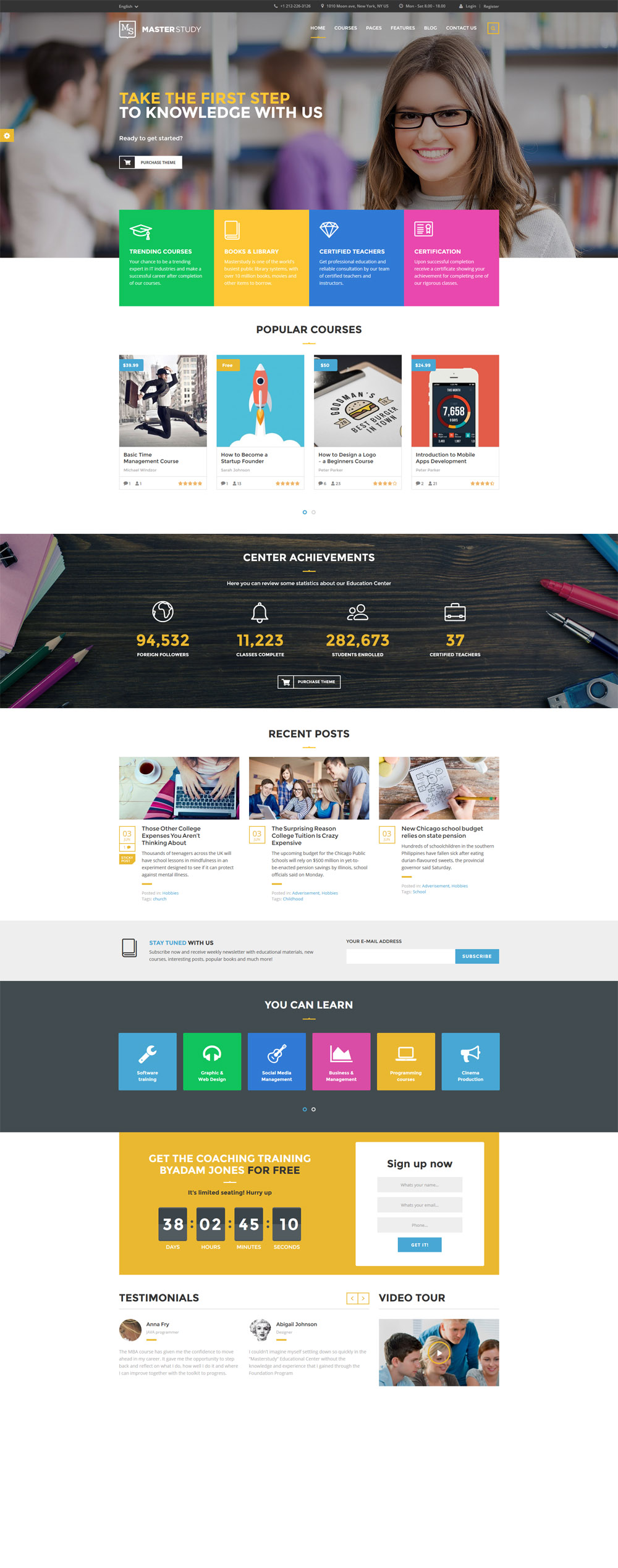Master Study Responsive Website Theme